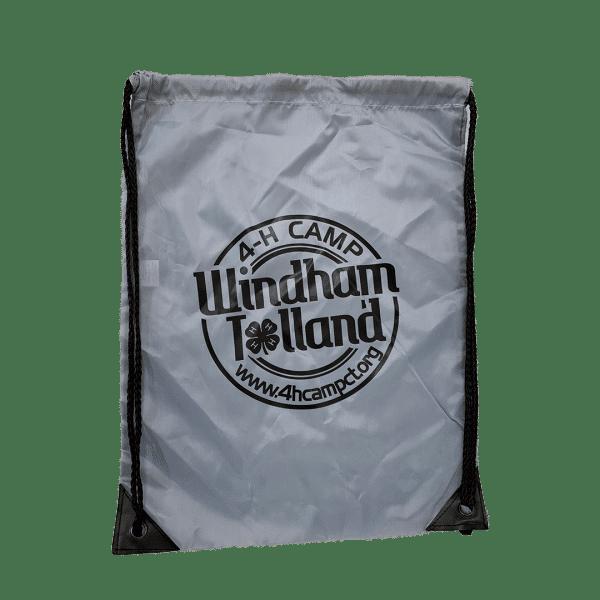 Gray drawstring bag